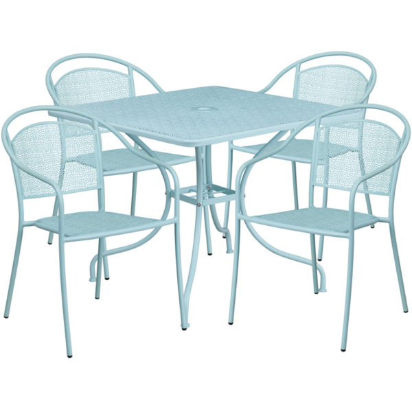 Wholesale 35.5'' Square Sky Blue Indoor-Outdoor Steel Patio Table Set with 4 Round Back Chairs