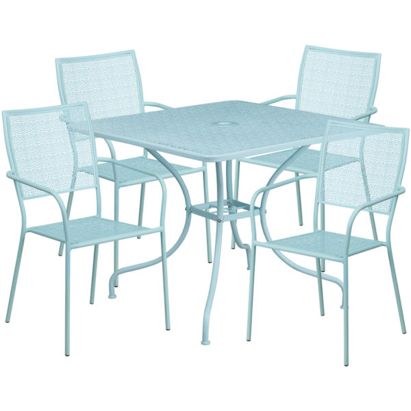 Wholesale 35.5'' Square Sky Blue Indoor-Outdoor Steel Patio Table Set with 4 Square Back Chairs
