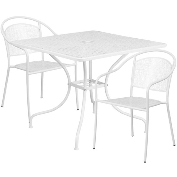 Wholesale 35.5'' Square White Indoor-Outdoor Steel Patio Table Set with 2 Round Back Chairs