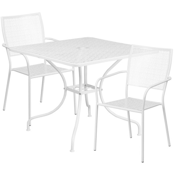 Wholesale 35.5'' Square White Indoor-Outdoor Steel Patio Table Set with 2 Square Back Chairs