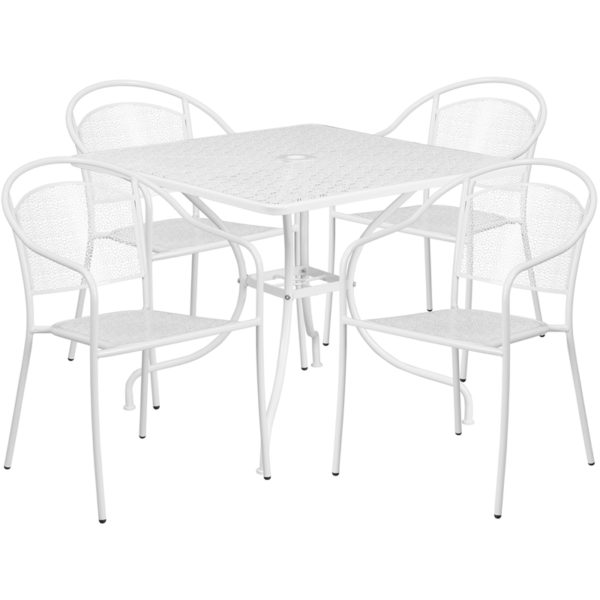 Wholesale 35.5'' Square White Indoor-Outdoor Steel Patio Table Set with 4 Round Back Chairs