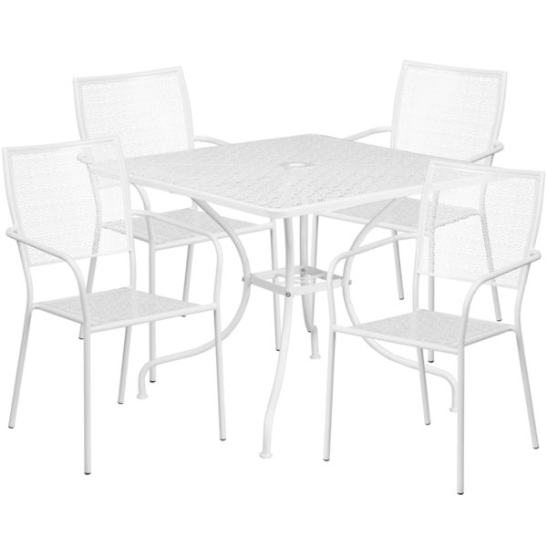 Wholesale 35.5'' Square White Indoor-Outdoor Steel Patio Table Set with 4 Square Back Chairs