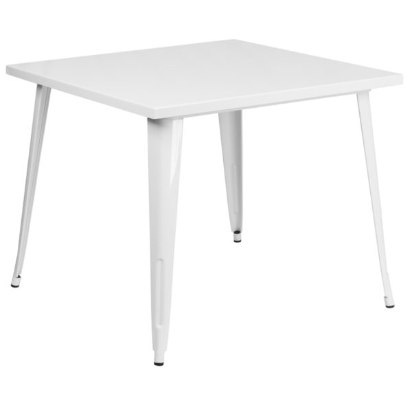 Wholesale 35.5'' Square White Metal Indoor-Outdoor Table