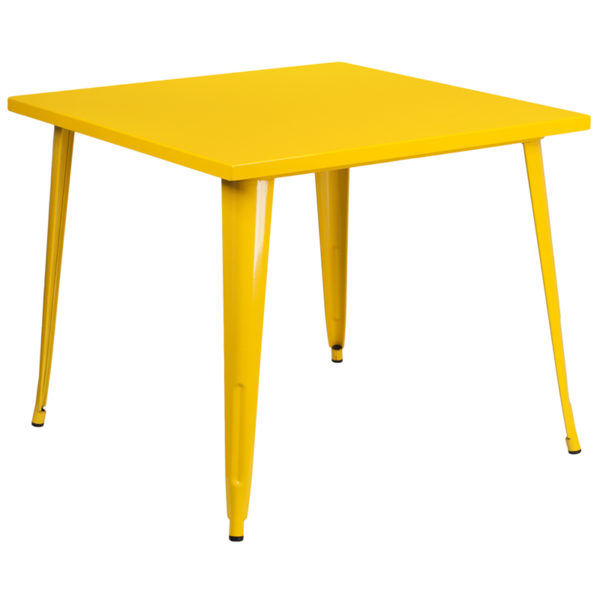 Wholesale 35.5'' Square Yellow Metal Indoor-Outdoor Table