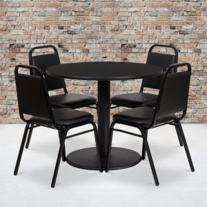 Wholesale 36'' Round Black Laminate Table Set with Round Base and 4 Black Trapezoidal Back Banquet Chairs
