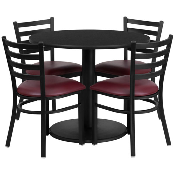 Lowest Price 36'' Round Black Laminate Table Set with Round Base and 4 Ladder Back Metal Chairs - Burgundy Vinyl Seat