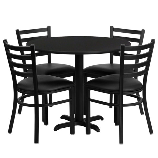 Lowest Price 36'' Round Black Laminate Table Set with X-Base and 4 Ladder Back Metal Chairs - Black Vinyl Seat