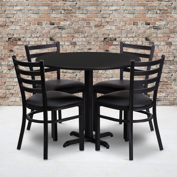 Wholesale 36'' Round Black Laminate Table Set with X-Base and 4 Ladder Back Metal Chairs - Black Vinyl Seat