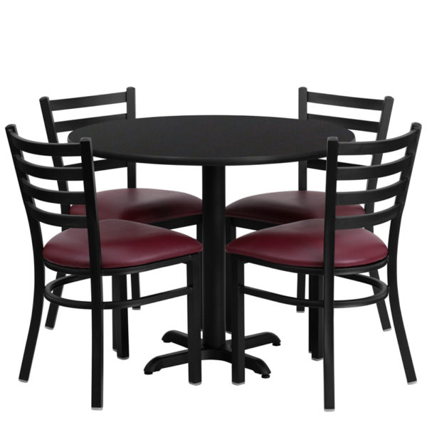 Lowest Price 36'' Round Black Laminate Table Set with X-Base and 4 Ladder Back Metal Chairs - Burgundy Vinyl Seat