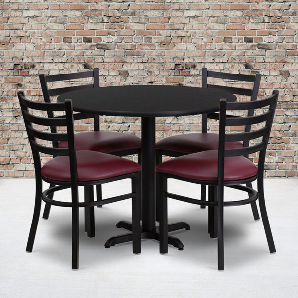Wholesale 36'' Round Black Laminate Table Set with X-Base and 4 Ladder Back Metal Chairs - Burgundy Vinyl Seat