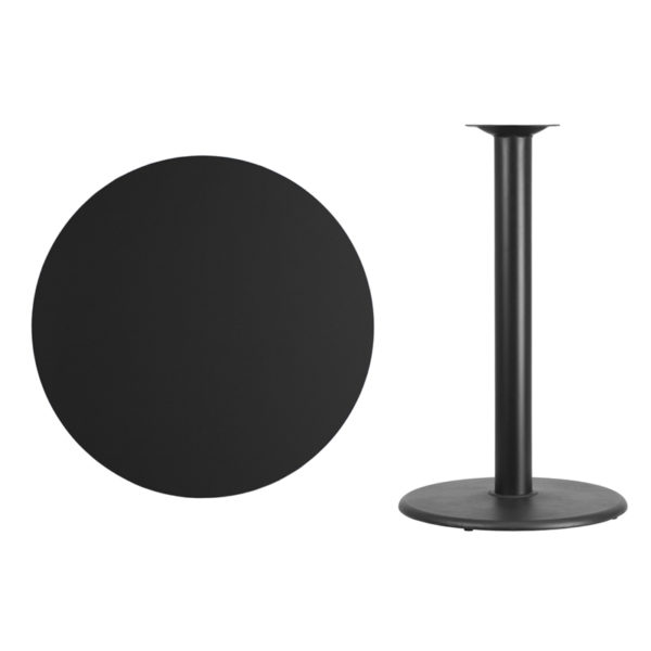 Lowest Price 36'' Round Black Laminate Table Top with 24'' Round Bar Height Table Base
