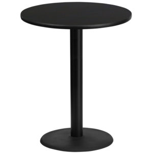 Wholesale 36'' Round Black Laminate Table Top with 24'' Round Bar Height Table Base