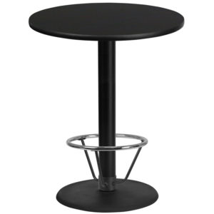 Wholesale 36'' Round Black Laminate Table Top with 24'' Round Bar Height Table Base and Foot Ring