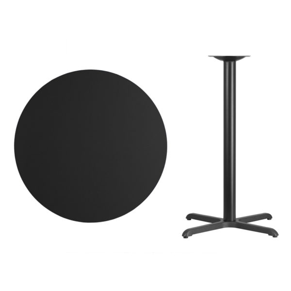 Lowest Price 36'' Round Black Laminate Table Top with 30'' x 30'' Bar Height Table Base