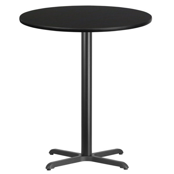 Wholesale 36'' Round Black Laminate Table Top with 30'' x 30'' Bar Height Table Base