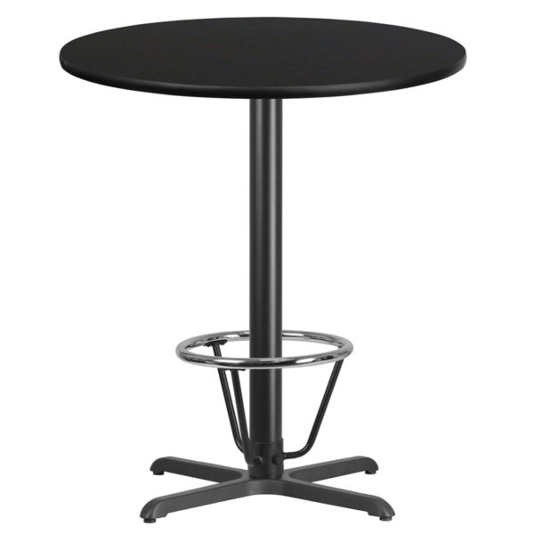 Wholesale 36'' Round Black Laminate Table Top with 30'' x 30'' Bar Height Table Base and Foot Ring