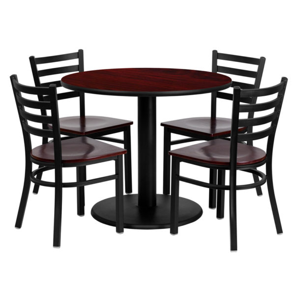Lowest Price 36'' Round Mahogany Laminate Table Set with 4 Ladder Back Metal Chairs - Mahogany Wood Seat