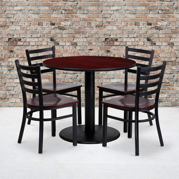 Wholesale 36'' Round Mahogany Laminate Table Set with 4 Ladder Back Metal Chairs - Mahogany Wood Seat