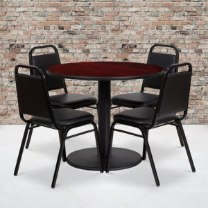 Wholesale 36'' Round Mahogany Laminate Table Set with Round Base and 4 Black Trapezoidal Back Banquet Chairs