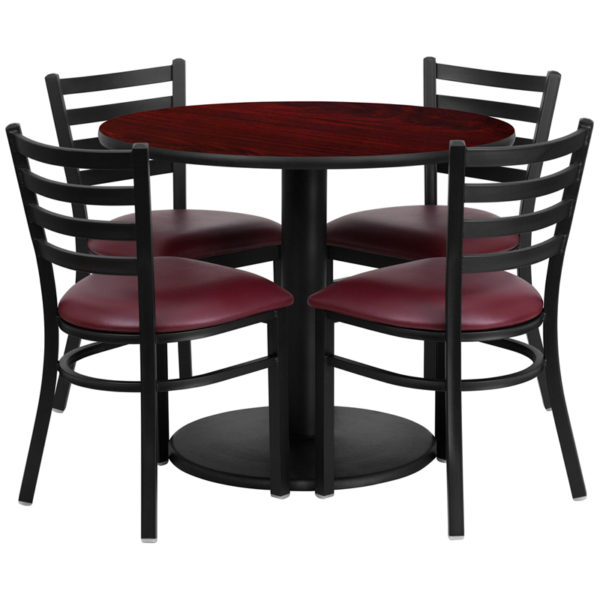 Lowest Price 36'' Round Mahogany Laminate Table Set with Round Base and 4 Ladder Back Metal Chairs - Burgundy Vinyl Seat