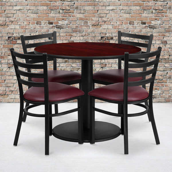 Wholesale 36'' Round Mahogany Laminate Table Set with Round Base and 4 Ladder Back Metal Chairs - Burgundy Vinyl Seat