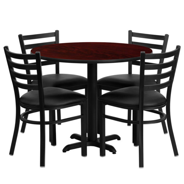 Lowest Price 36'' Round Mahogany Laminate Table Set with X-Base and 4 Ladder Back Metal Chairs - Black Vinyl Seat