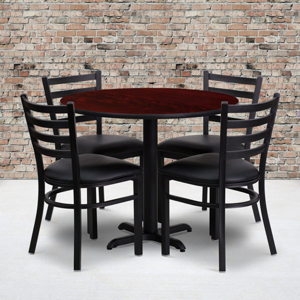 Wholesale 36'' Round Mahogany Laminate Table Set with X-Base and 4 Ladder Back Metal Chairs - Black Vinyl Seat