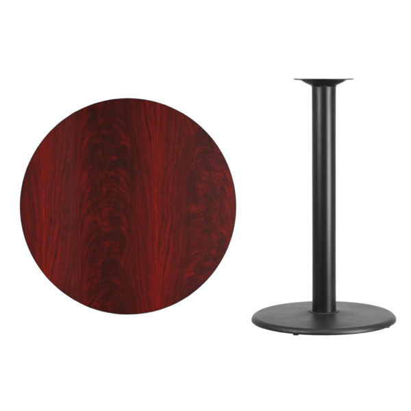 Lowest Price 36'' Round Mahogany Laminate Table Top with 24'' Round Bar Height Table Base