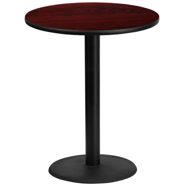 Wholesale 36'' Round Mahogany Laminate Table Top with 24'' Round Bar Height Table Base