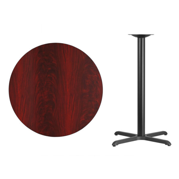 Lowest Price 36'' Round Mahogany Laminate Table Top with 30'' x 30'' Bar Height Table Base