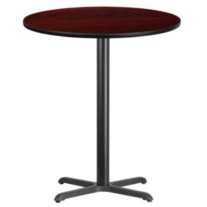 Wholesale 36'' Round Mahogany Laminate Table Top with 30'' x 30'' Bar Height Table Base