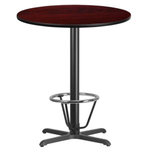 Wholesale 36'' Round Mahogany Laminate Table Top with 30'' x 30'' Bar Height Table Base and Foot Ring