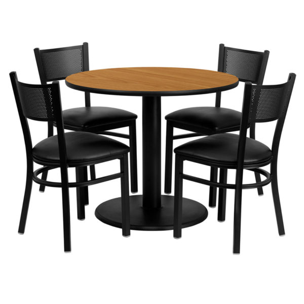 Lowest Price 36'' Round Natural Laminate Table Set with 4 Grid Back Metal Chairs - Black Vinyl Seat