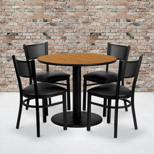 Wholesale 36'' Round Natural Laminate Table Set with 4 Grid Back Metal Chairs - Black Vinyl Seat