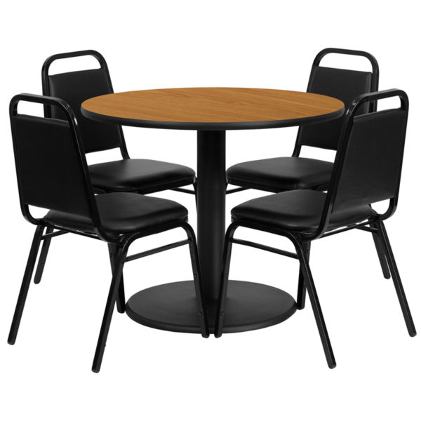 Lowest Price 36'' Round Natural Laminate Table Set with Round Base and 4 Black Trapezoidal Back Banquet Chairs