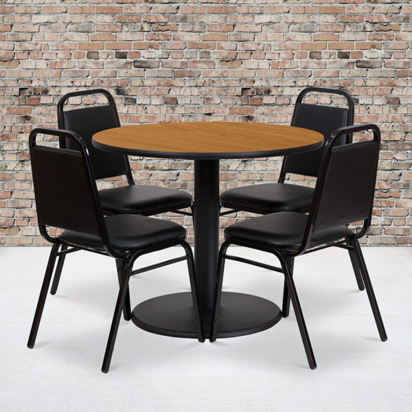 Wholesale 36'' Round Natural Laminate Table Set with Round Base and 4 Black Trapezoidal Back Banquet Chairs