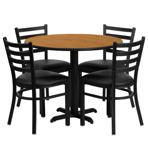 Lowest Price 36'' Round Natural Laminate Table Set with X-Base and 4 Ladder Back Metal Chairs - Black Vinyl Seat