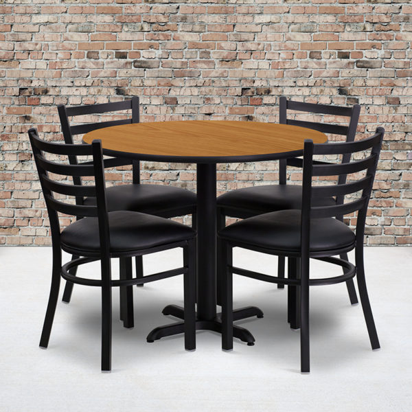 Wholesale 36'' Round Natural Laminate Table Set with X-Base and 4 Ladder Back Metal Chairs - Black Vinyl Seat