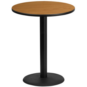Wholesale 36'' Round Natural Laminate Table Top with 24'' Round Bar Height Table Base