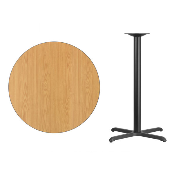 Lowest Price 36'' Round Natural Laminate Table Top with 30'' x 30'' Bar Height Table Base