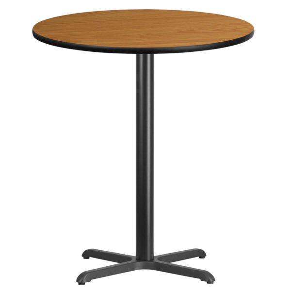 Wholesale 36'' Round Natural Laminate Table Top with 30'' x 30'' Bar Height Table Base