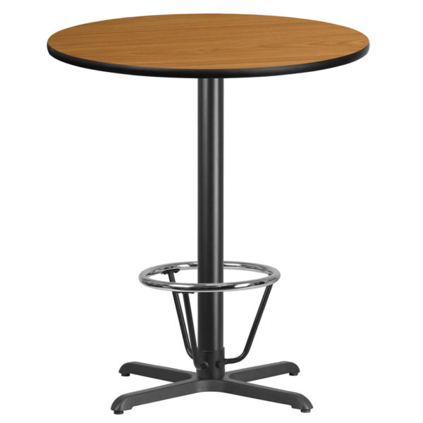 Wholesale 36'' Round Natural Laminate Table Top with 30'' x 30'' Bar Height Table Base and Foot Ring