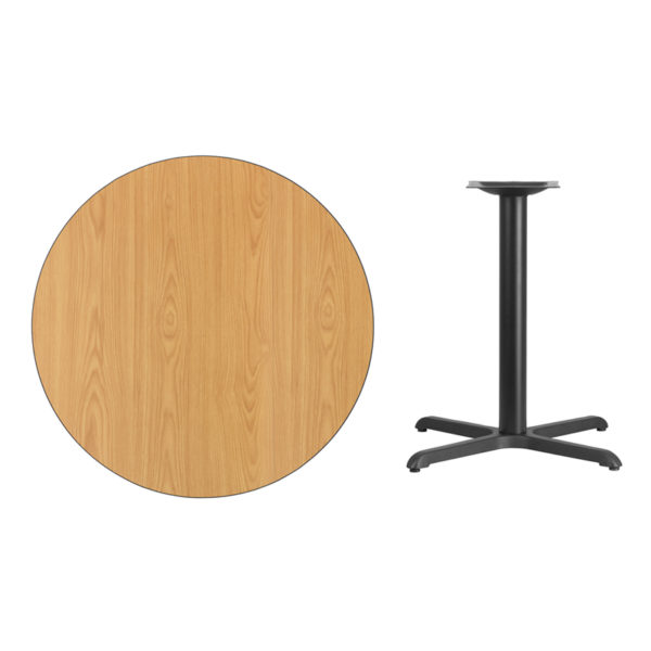 Lowest Price 36'' Round Natural Laminate Table Top with 30'' x 30'' Table Height Base