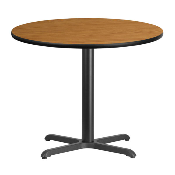 Wholesale 36'' Round Natural Laminate Table Top with 30'' x 30'' Table Height Base