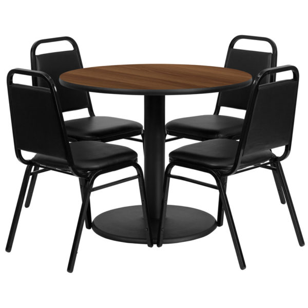 Lowest Price 36'' Round Walnut Laminate Table Set with Round Base and 4 Black Trapezoidal Back Banquet Chairs
