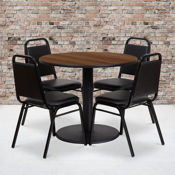 Wholesale 36'' Round Walnut Laminate Table Set with Round Base and 4 Black Trapezoidal Back Banquet Chairs