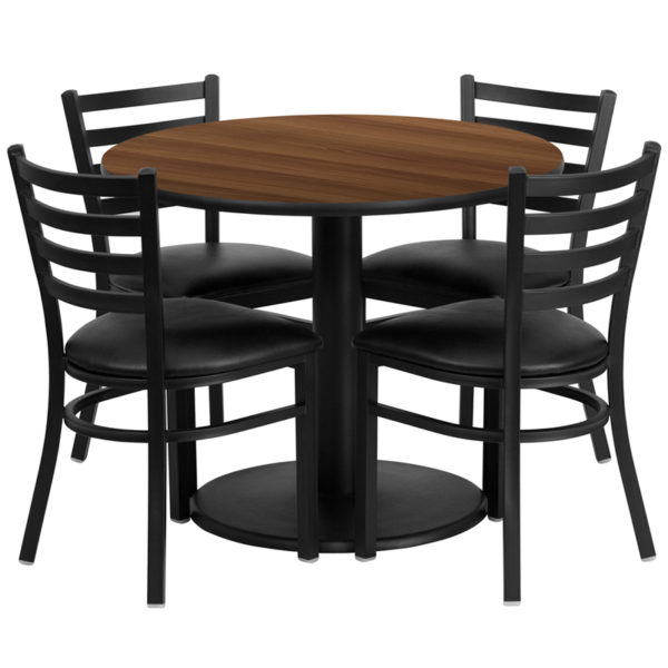Lowest Price 36'' Round Walnut Laminate Table Set with Round Base and 4 Ladder Back Metal Chairs - Black Vinyl Seat