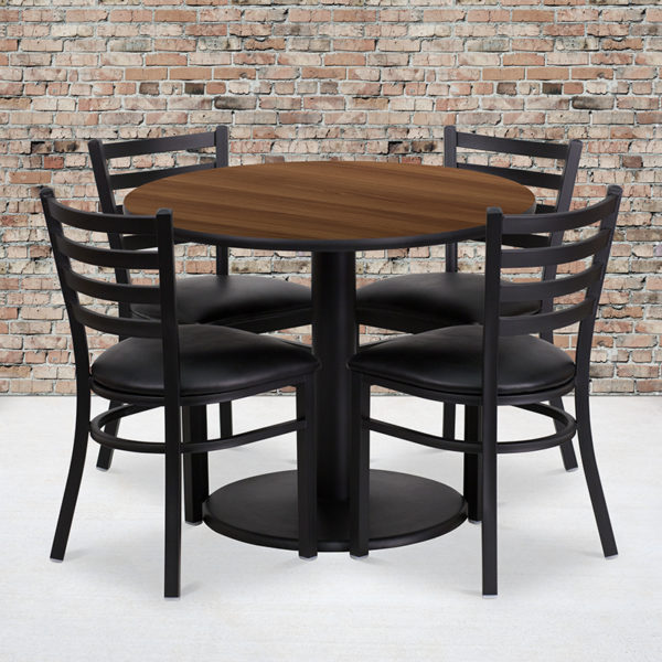Wholesale 36'' Round Walnut Laminate Table Set with Round Base and 4 Ladder Back Metal Chairs - Black Vinyl Seat