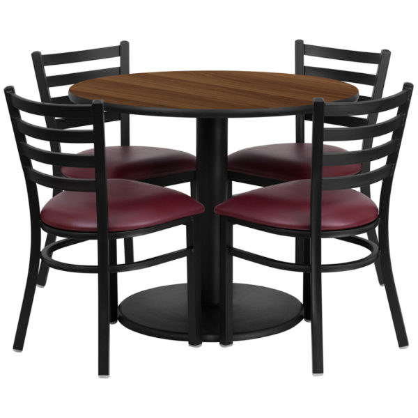 Lowest Price 36'' Round Walnut Laminate Table Set with Round Base and 4 Ladder Back Metal Chairs - Burgundy Vinyl Seat
