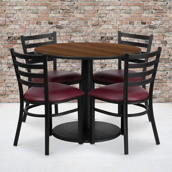Wholesale 36'' Round Walnut Laminate Table Set with Round Base and 4 Ladder Back Metal Chairs - Burgundy Vinyl Seat